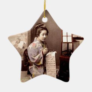 Vintage Japanese Geisha - Letter Writer Ceramic Star Decoration