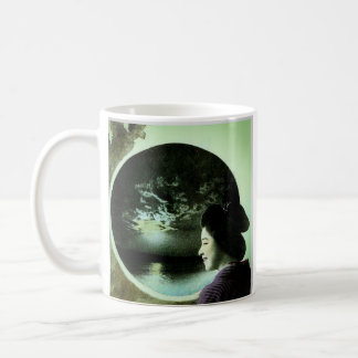 Vintage Japanese Geisha Peering Out at Ocean Basic White Mug