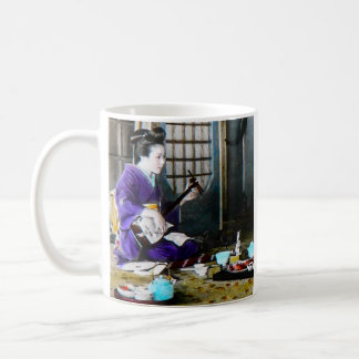 Vintage Japanese Geisha Playing Shamisen Banjo Basic White Mug