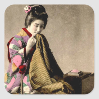 Vintage Japanese Geisha Sewing a Kimono Old Japan Square Sticker