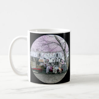 Vintage Japanese Geisha Sit Under Cherry Blossoms Basic White Mug