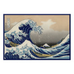 Vintage Japanese Great Wave Nautical of Mt. Fuji Poster