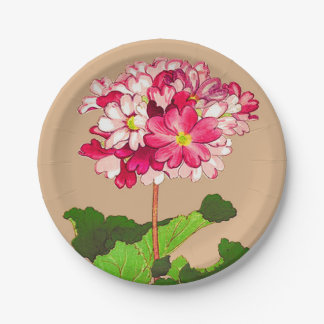 Vintage Japanese Hydrangea. Pink and Green Paper Plate