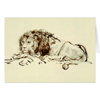 Vintage Japanese Ink Sketch of a Lion Card