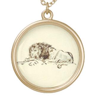 Vintage Japanese Ink Sketch of a Lion Round Pendant Necklace