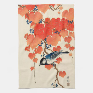 Vintage Japanese Jay Bird and Autumn Grapevine Tea Towel