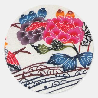 Vintage Japanese KIMONO Floral Pattern Round Sticker