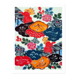 Vintage Japanese Kimono Textile Bingata Postcards