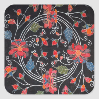 Vintage Japanese Kimono Textile Bingata Square Stickers