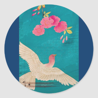 Vintage Japanese Kimono Textile, Cherry Blossoms Classic Round Sticker