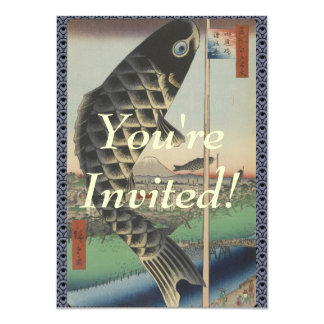 Vintage Japanese Koi Festival Flags 11 Cm X 16 Cm Invitation Card