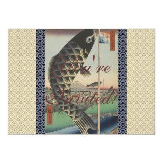 Vintage Japanese Koi Festival Flags 11 Cm X 16 Cm Invitation Card