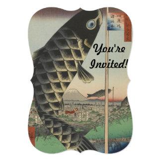 Vintage Japanese Koi Festival Flags 5x7 Paper Invitation Card