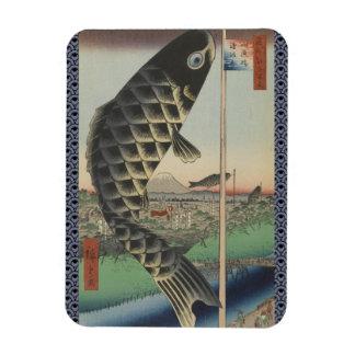 Vintage Japanese Koi Festival Flags Rectangular Photo Magnet