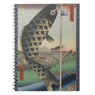 Vintage Japanese Koi Festival Flags Spiral Notebook