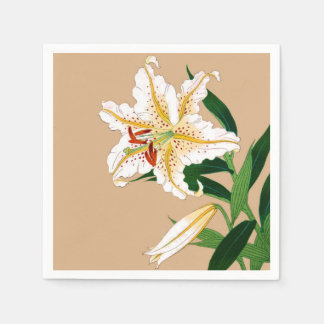 Vintage Japanese Liliy. White, Green and Beige Paper Napkin