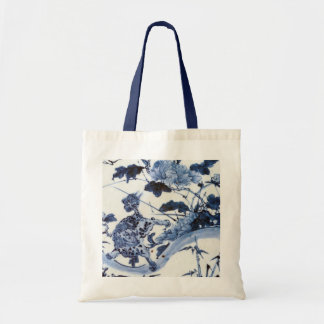 Vintage Japanese Lion and Peony Tote Bag