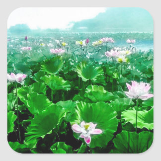Vintage Japanese Lotus Pond Old Japan Square Sticker