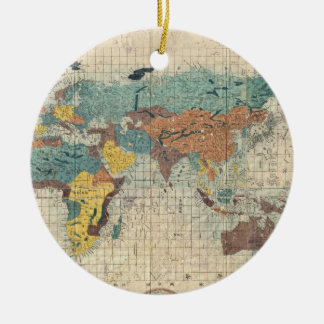 Vintage Japanese Map of the World Round Ceramic Decoration