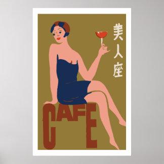 Vintage japanese matchbox cover (Cafe girl) Poster