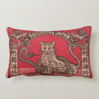 Vintage Japanese matchbox cover Lumbar Cushion