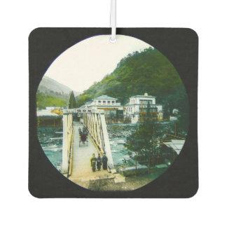 Vintage Japanese Morning Crossing Bridge Old Japan