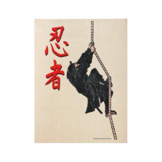 Vintage Japanese Ninja Kanji Wood Poster