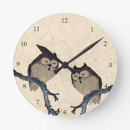 Vintage Japanese Owls Wallclock