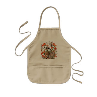 Vintage Japanese Painting of A Kid Playing Horses Kids Apron