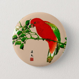 Vintage Japanese Painting of a Parrot, Red & Green 6 Cm Round Badge
