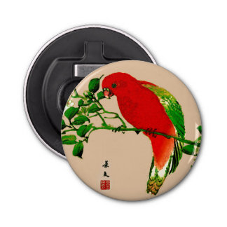 Vintage Japanese Painting of a Parrot, Red & Green Bottle Opener