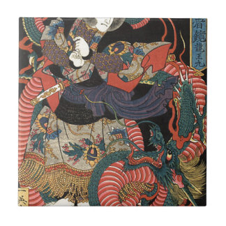 Vintage Japanese Red Dragon Small Square Tile