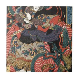 Vintage Japanese Red Dragon Tile
