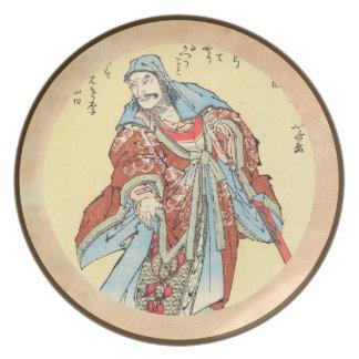 Vintage japanese samurai sketch tattoo Hokusai art Party Plates