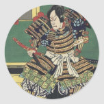 Vintage Japanese samurai Warrior Round Sticker