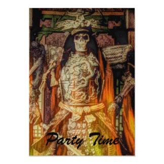 Vintage Japanese samurai Warrior skeleton flames 13 Cm X 18 Cm Invitation Card