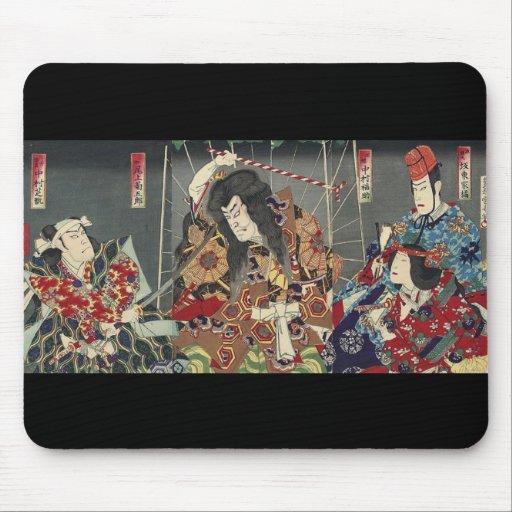 Vintage Japanese samurai Warriors Mouse Pad