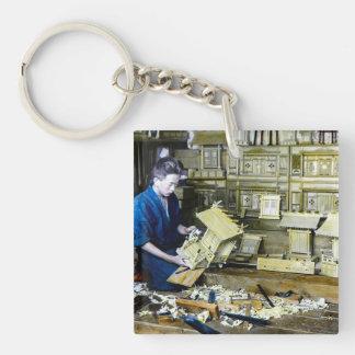 Vintage Japanese Shrine Maker Craftsman Old Japan Single-Sided Square Acrylic Key Ring