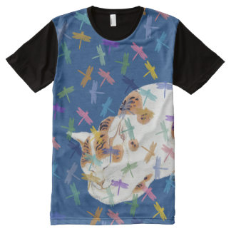 Vintage Japanese Sleeping Cat Dragonfly Art Tee All-Over Print T-Shirt
