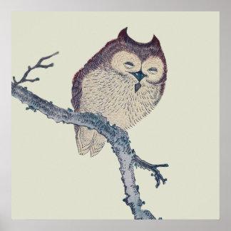 Vintage Japanese Sleeping Owl Poster