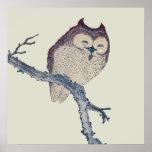 Vintage Japanese Sleeping Owl Posters