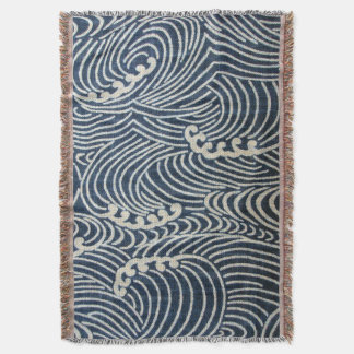 Vintage Japanese Textile, Wave Pattern Throw Blanket