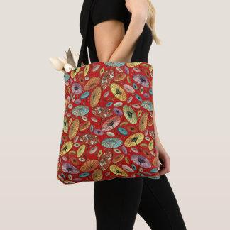 Vintage Japanese Umbrella Pattern Tote Bag