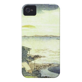 Vintage Japanese Village by the Sea Woodblock Art iPhone 4 Case-Mate Case