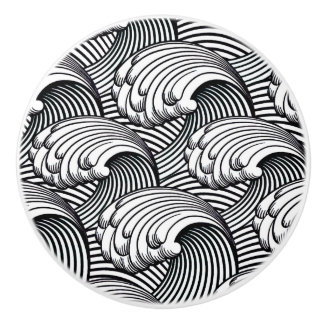 Vintage Japanese Waves, Black and White Ceramic Knob