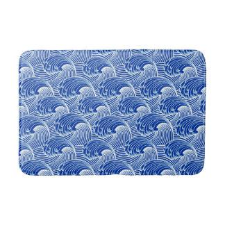 Vintage Japanese Waves, Cobalt Blue and White Bath Mats