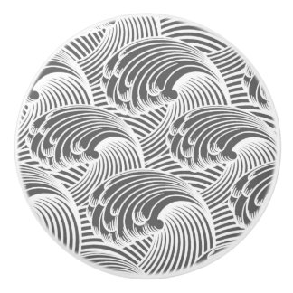 Vintage Japanese Waves, Gray / Grey and White Ceramic Knob