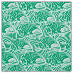 Vintage Japanese Waves, Jade Green and White Fabric