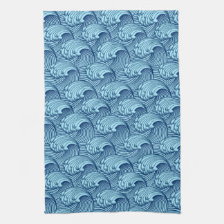 Vintage Japanese Waves, Navy and Sky Blue Tea Towel