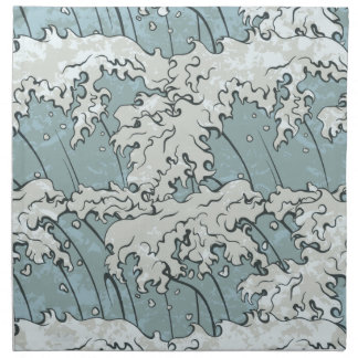 vintage japanese waves pattern napkin